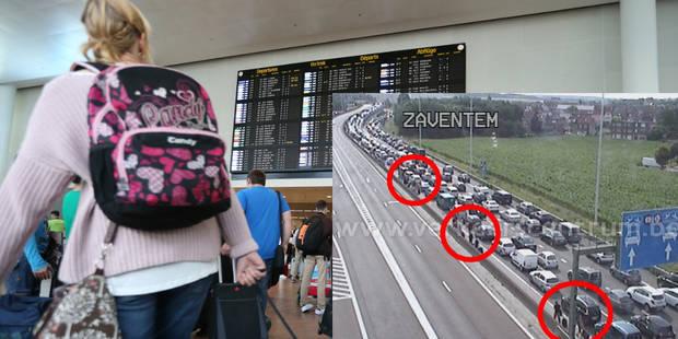 Embouteillages en direction de Zaventem et vers la Côte, des voyageurs marchent vers l'aéroport - La DH