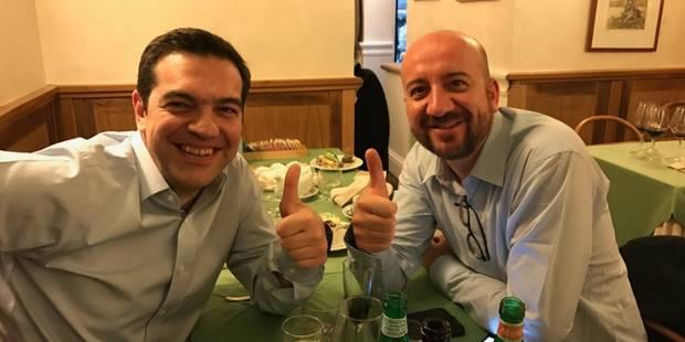 Quand Alexis Tsipras et Charles Michel regardent Belgique-Grèce ensemble - La DH