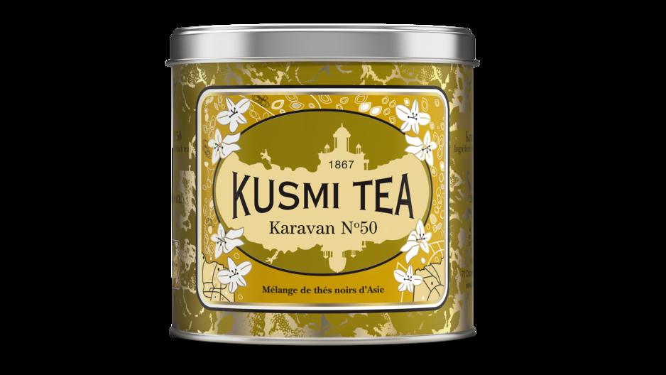 Thé Kusmi Karavan, édition collector pour les 170 ans de la marque. Un mélange de thés noirs originaires d'Asie, qui est un hommage au passé romanesque de Kusmi Tea. Sur eShop et dans la boutique au Docks à Bruxelles.
