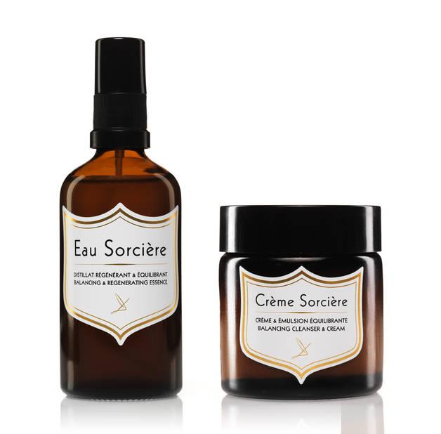 Les produits Delbôve Sorcière sont magiques, à l'image de ces best-sellers : le ditillat régénérant et équilibrant et la Crème Sorcière équilibrante à poser en émulsion, 46 et 74€