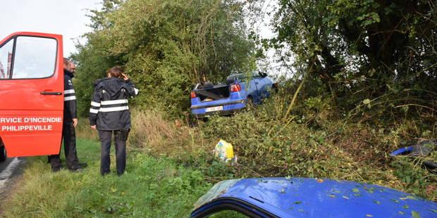 Philippeville: une voiture dans le fossé sur la N40 - La DH