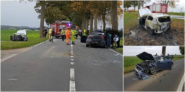 Donstiennes: une voiture prend feu après un accident - La DH