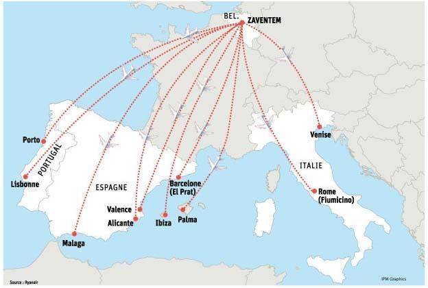 Carte Italie Aeroport Ryanair.Ryanair 10 Destinations Au Depart De Bruxelles La Dh