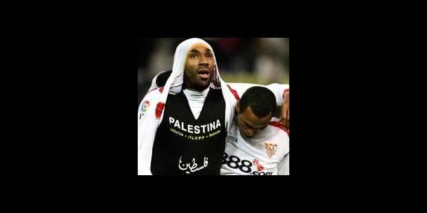 """Kanouté risque une amende pour un T-shirt frappé du mot """"Palestine"""""""