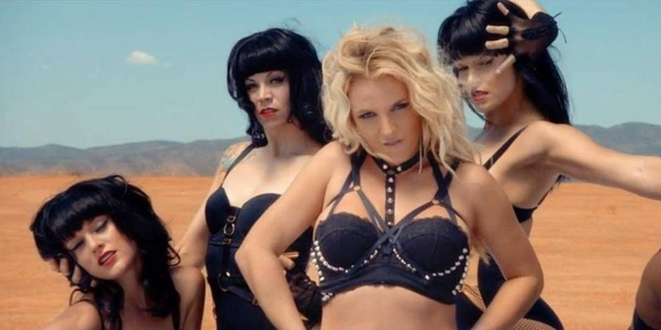 Britney Spears dons racy bondage gear for her new music video Work Bitch.