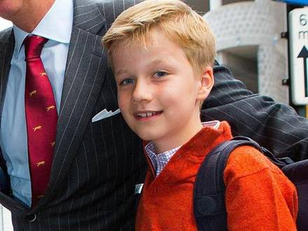02-09-2013 Brussels Prince Gabriel during the first day of school at the Sint-Jan-Berchmanscollege in Brussels. © PPE/Nieboer Reporters / PPE