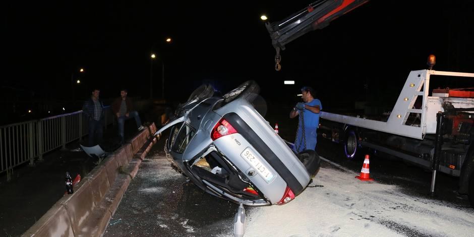 Marchienne-au-Pont: une voiture sur le toit