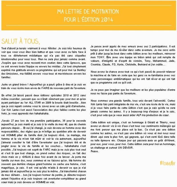 Modele lettre motivation koh lanta document online - Lettre de motivation koh lanta ...