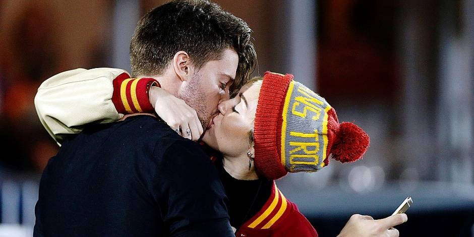 Patrick Schwarzenegger and Miley Cyrus sighting at USC football game