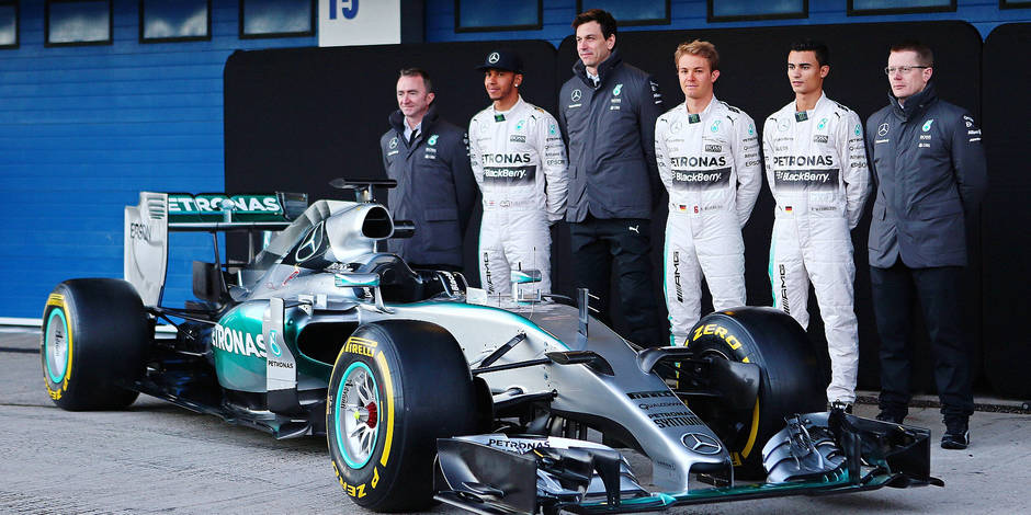 The Mercedes AMG F1 W06 is unveiled L to R Paddy Lowe GBR Mercedes AMG F1 Executive Director T