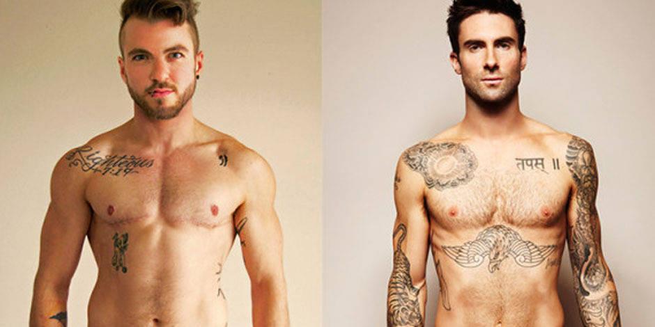La célèbre photo d'Adam Levine nu version transgenre