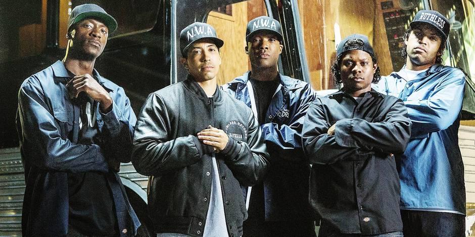 STRAIGHT OUTTA COMPTON, from left, Aldis Hodge, as MC Ren, Neil Brown Jr., as Dj Yella, Corey