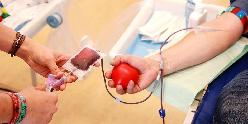 Don de sang à la Croix-Rouge d'Ixelles.