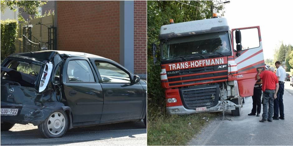 florennes un camion bus et voiture impliqu s dans un accident la dh. Black Bedroom Furniture Sets. Home Design Ideas