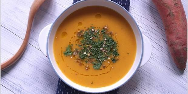 Potage de patates douces, racine de persil et grains de coriandre - La DH