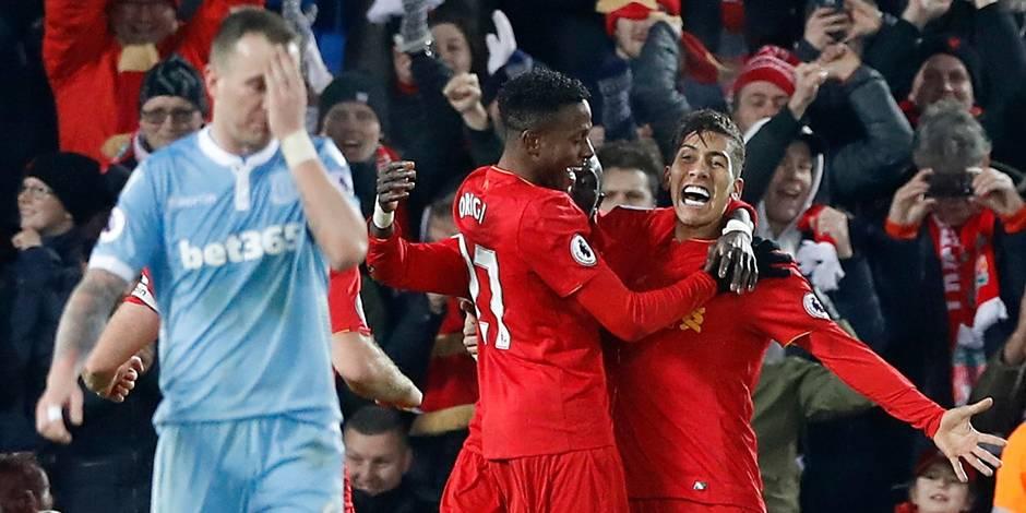 Belges à l'étranger: victoire de Liverpool sur Stoke, Mignolet et Origi titulaires