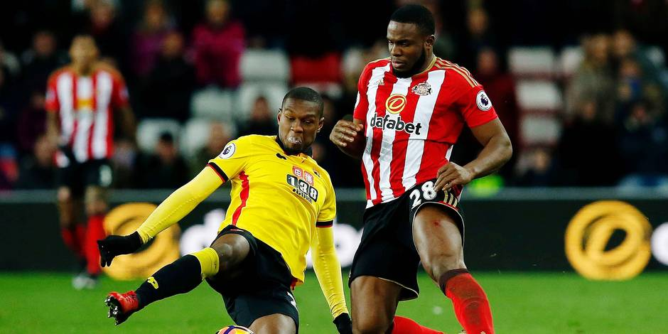 Sunderland's Victor Anichebe in action with Watford's Christian Kabasele