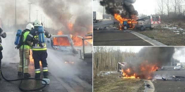 Un drame évité de peu à Gouy-lez-Piéton: des ouvriers sauvent deux personnes d'une voiture en feu - La DH
