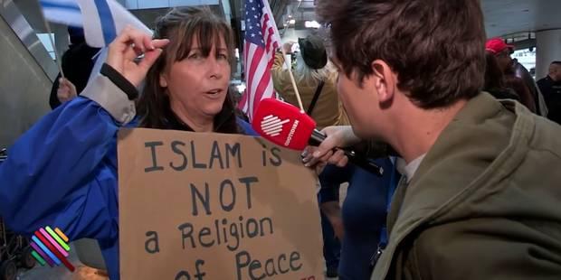 """MuslimBan: un journaliste de """"Quotidien"""" casse une militante pro-Trump (VIDEO) - La DH"""
