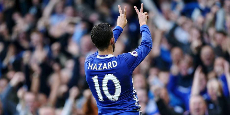Chelsea s Eden Hazard celebrates scoring the second goal during the Premier League match between Che