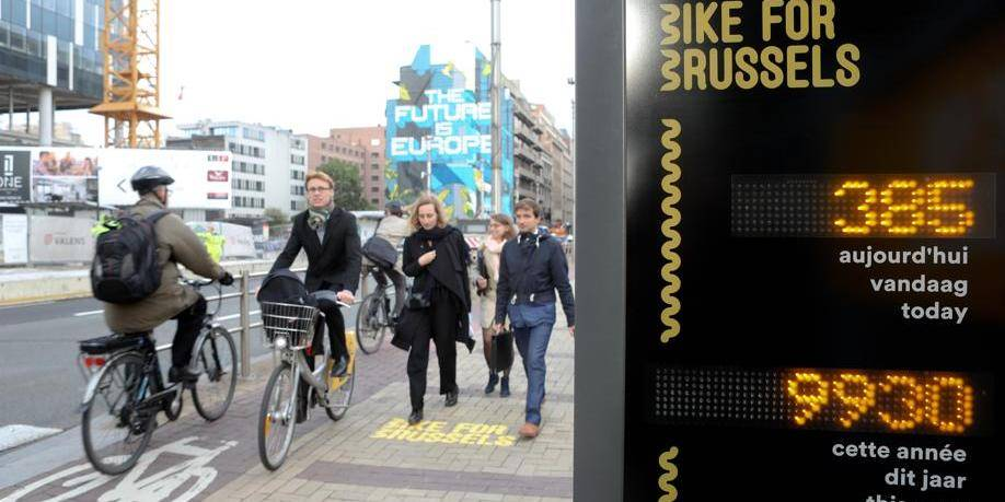 La première borne de comptage vélo installée rue de la Loi