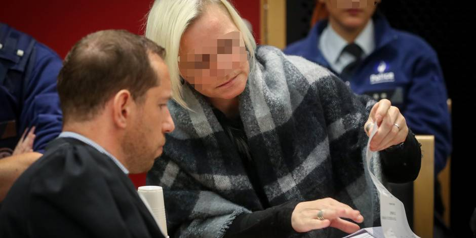 The accused Cindy Mahieu pictured during the jury composition before the start of the assizes trial of eight accused, before the Assizes Court of the Hainaut Province in Mons, for the double murder in the night between 22 and 23 May 2014 in Dour, the bodies of Fanny Colmant (35) and David Dubois (34) where found in the Hensies waterway. BELGA PHOTO VIRGINIE LEFOUR