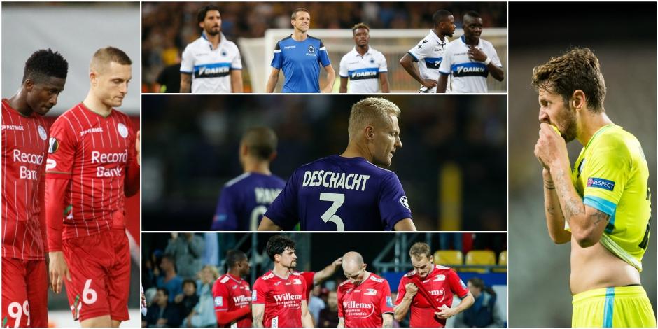 Le bilan catastrophique des cinq clubs belges ayant participé aux Coupes d'Europe cette saison