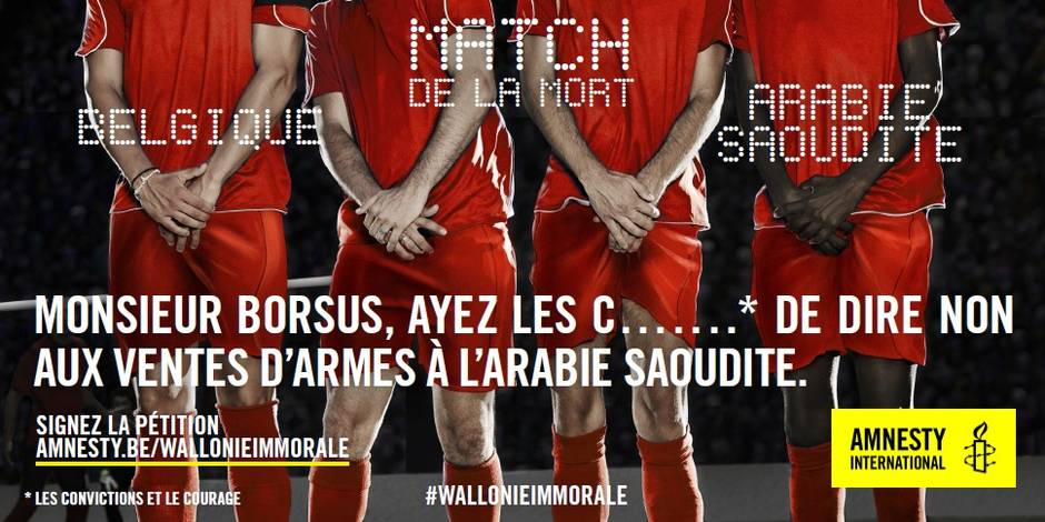 Amnesty International s'immisce dans la polémique du match des Diables face à l'Arabie saoudite